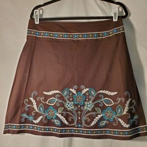 Heart Soul Brown Embroidered Skirt Size 11